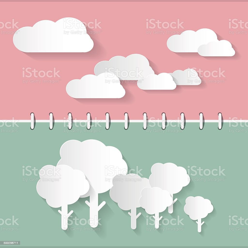 Paper Clouds and Trees royalty-free stock vector art
