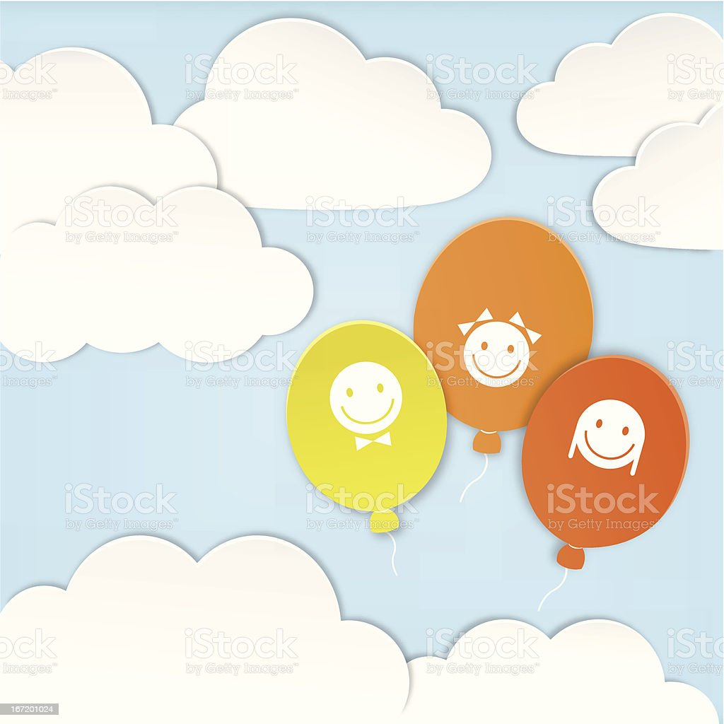 Paper clouds with balloons royalty-free stock vector art
