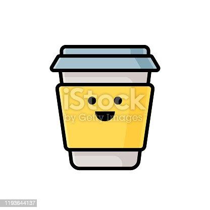 istock Paper coffee cup emoticon 1193644137