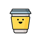 Vector illustration of a paper coffee cup emoticon great for social media platforms, online messaging and mobile apps, business and office ideas and concepts, user interface design projects, as an icon or symbol for restaurants and coffee shops and as a design element in other projects.