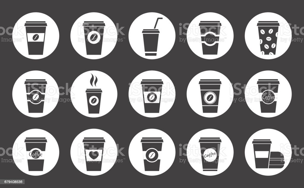 paper coffee cup icons royalty-free paper coffee cup icons stock vector art & more images of black and white