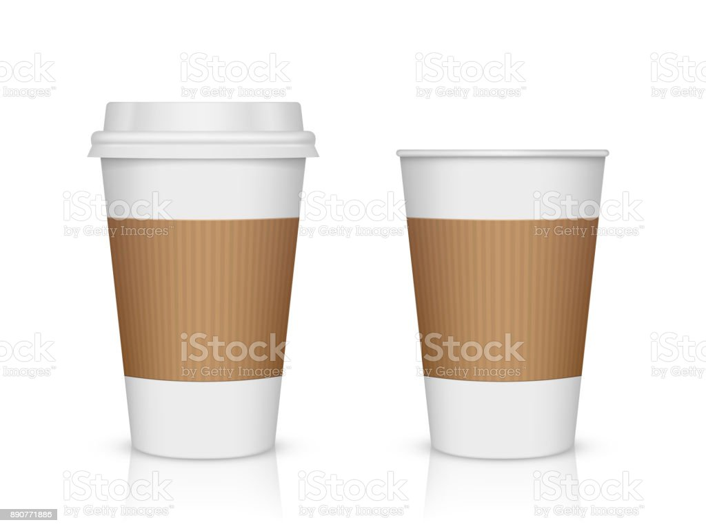 Paper coffee cup isolated on white vector art illustration