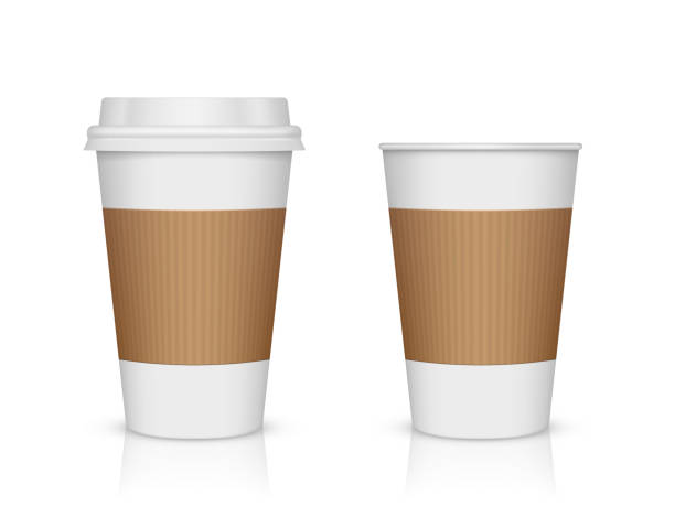 paper coffee cup isolated on white - empty vending machine stock illustrations
