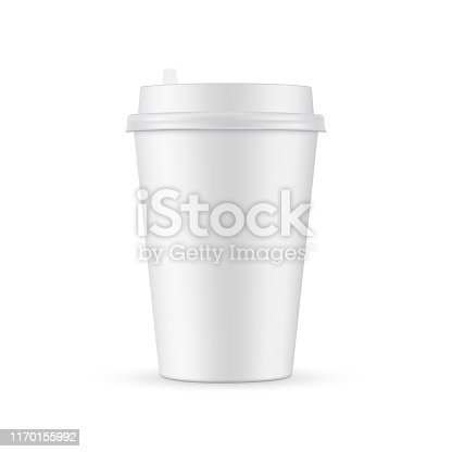 Paper coffee cup mockup isolated on white background. Vector illustration