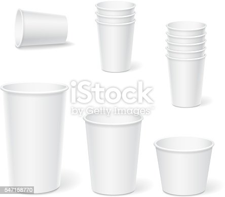 Paper coffee cups on a white background. Vector set