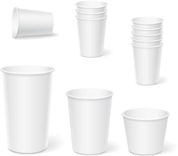 bildbanksillustrationer, clip art samt tecknat material och ikoner med paper coffee cups on a white background. - cup