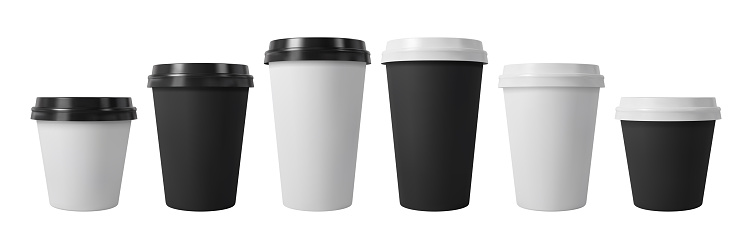 Paper coffee cups with black and white lids. Closed large and small paper cups. Realistic vector mockup.