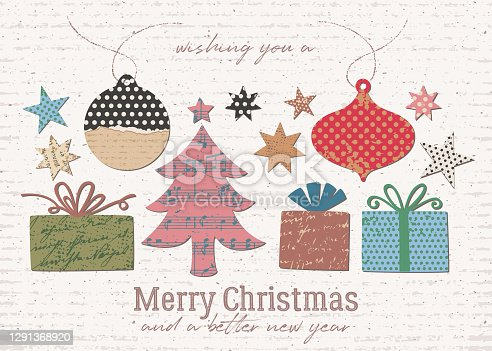 istock Paper collage Christmas greeting card - wide format 1291368920