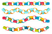 Paper colorful chains vector cartoon set isolated on white background.
