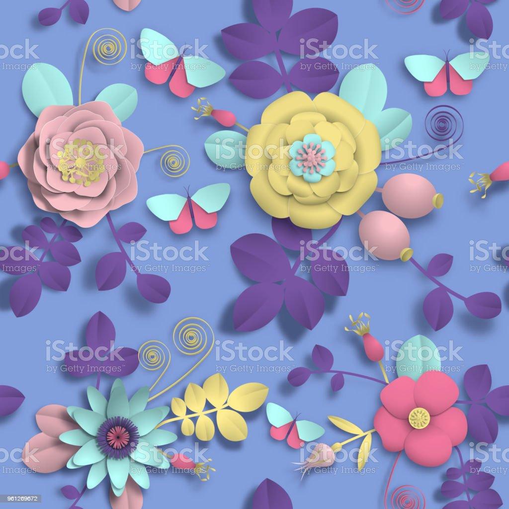 Kağıt el sanatları 3D vahşi gül çiçek, Kuşburnu çilek ve kelebek seamless modeli. Stok görüntü illüstrasyon vektör vektör sanat illüstrasyonu