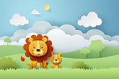 Paper craft of lion and Africa forest, vector art and illustration.