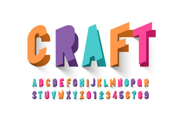 Paper craft style font Paper craft style font design, alphabet letters and numbers vector illustration craft stock illustrations