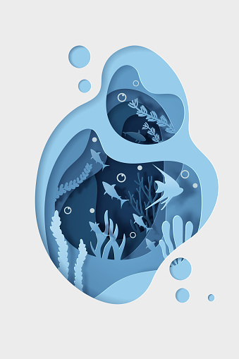 Paper craft underwater with animal in the oceans. World Oceans Day concept.