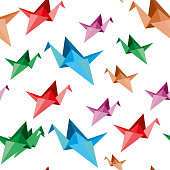 Paper cranes, origami pattern, seamless.Vector Illustration