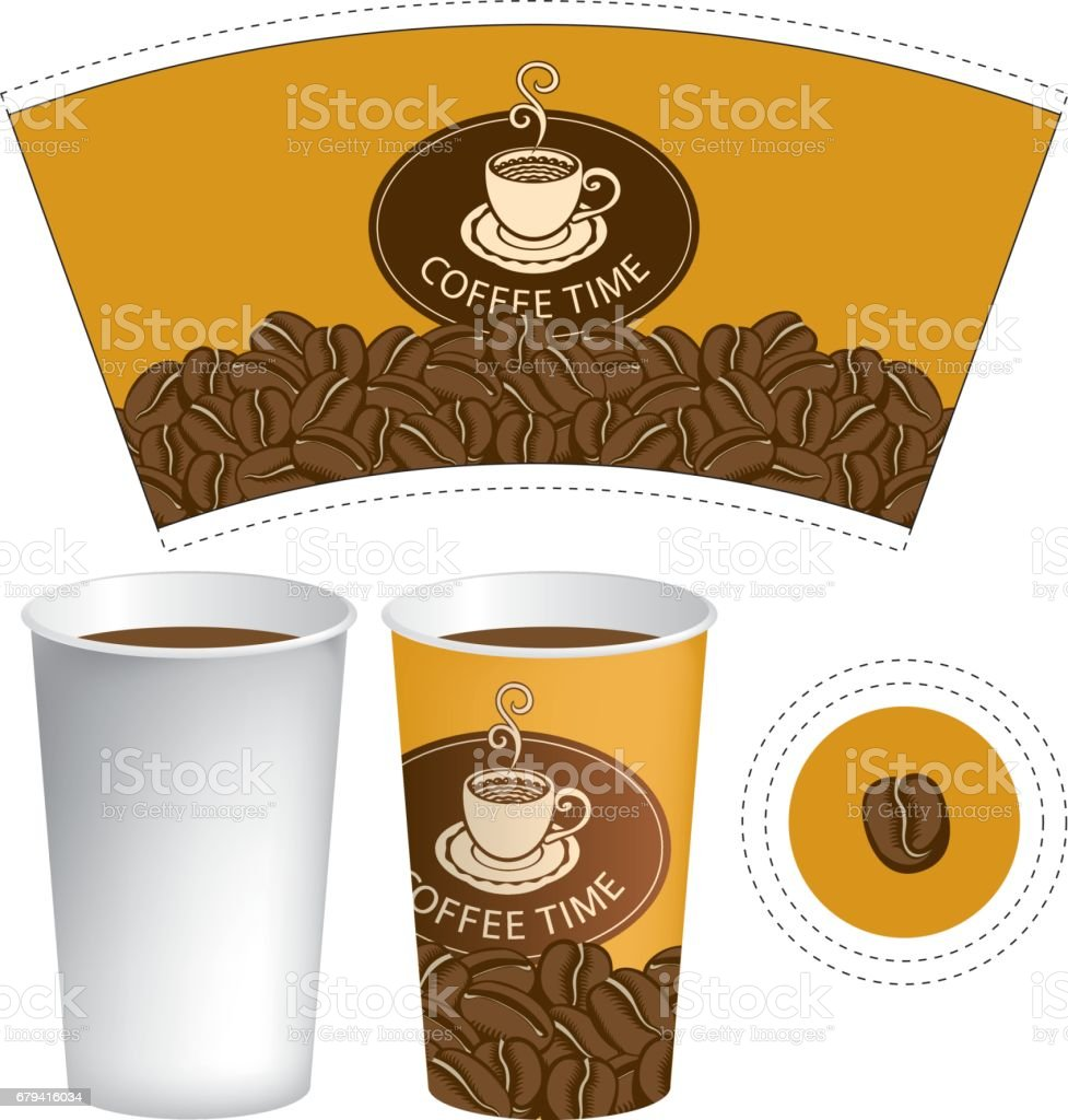 paper cup for hot drink with cup of coffee vector art illustration