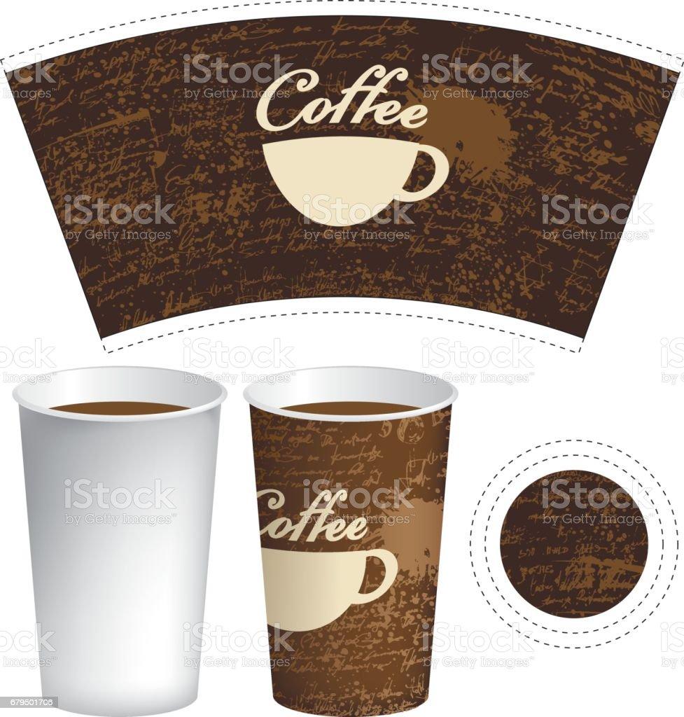 Pappbecher Für Heißes Getränk Mit Tasse Kaffee Stock Vektor Art und ...