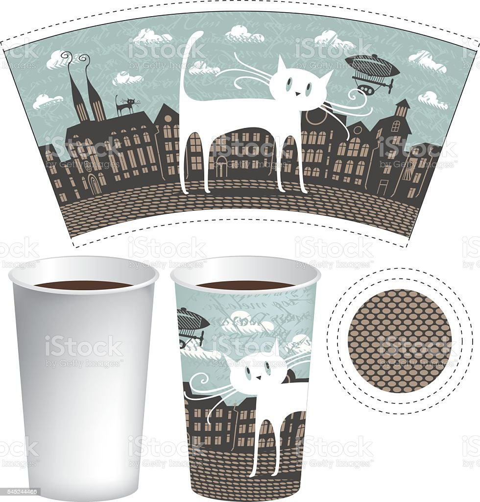 paper cup for tea or coffee vector art illustration