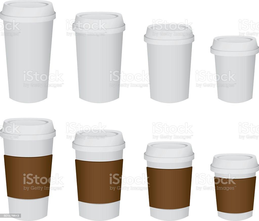 paper cup set Vector vector art illustration