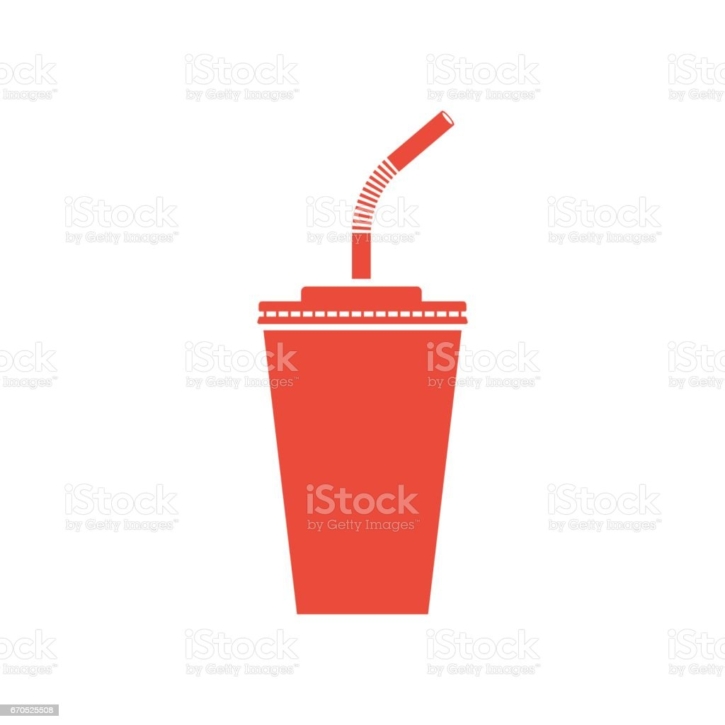 Paper cup soda icon vector art illustration