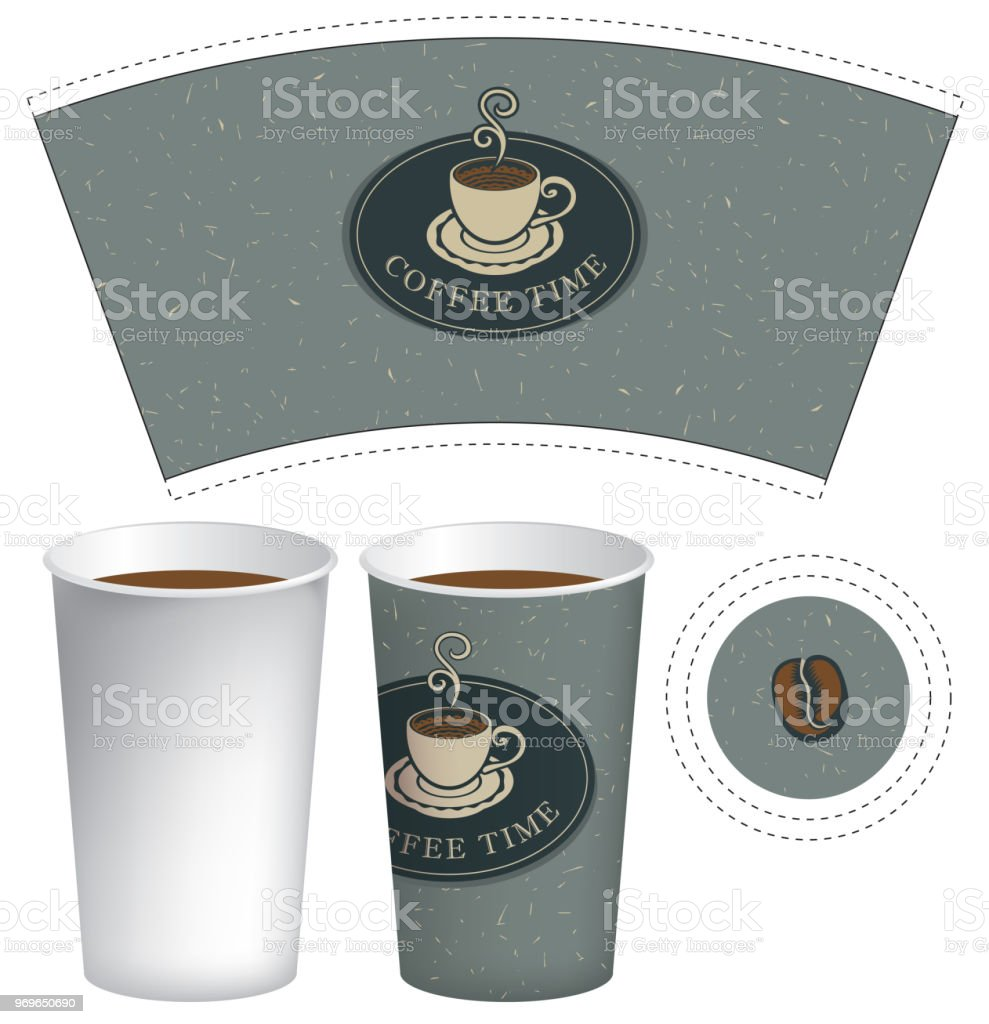 Paper Cup Template For Hot Drink With Coffee Royalty Free