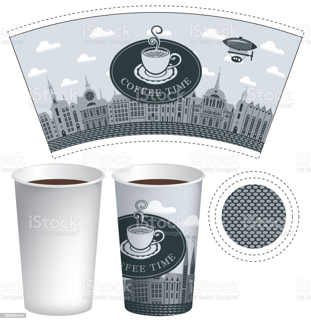 Paper Cup Template With Old Town And Coffee Royalty Free