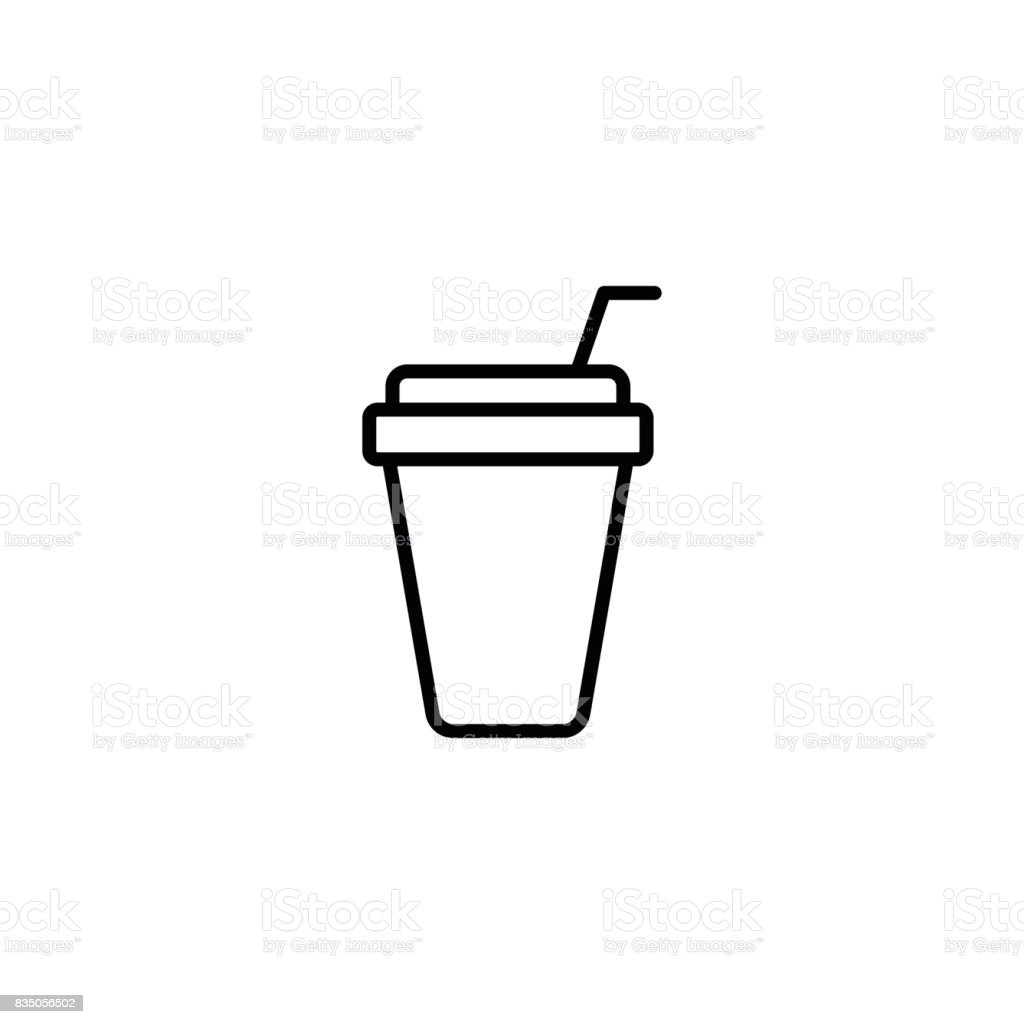 thin line paper cup with straw mockup on white background