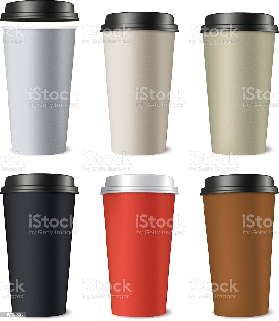 Paper cups isolated on white. Vector illustration vector art illustration