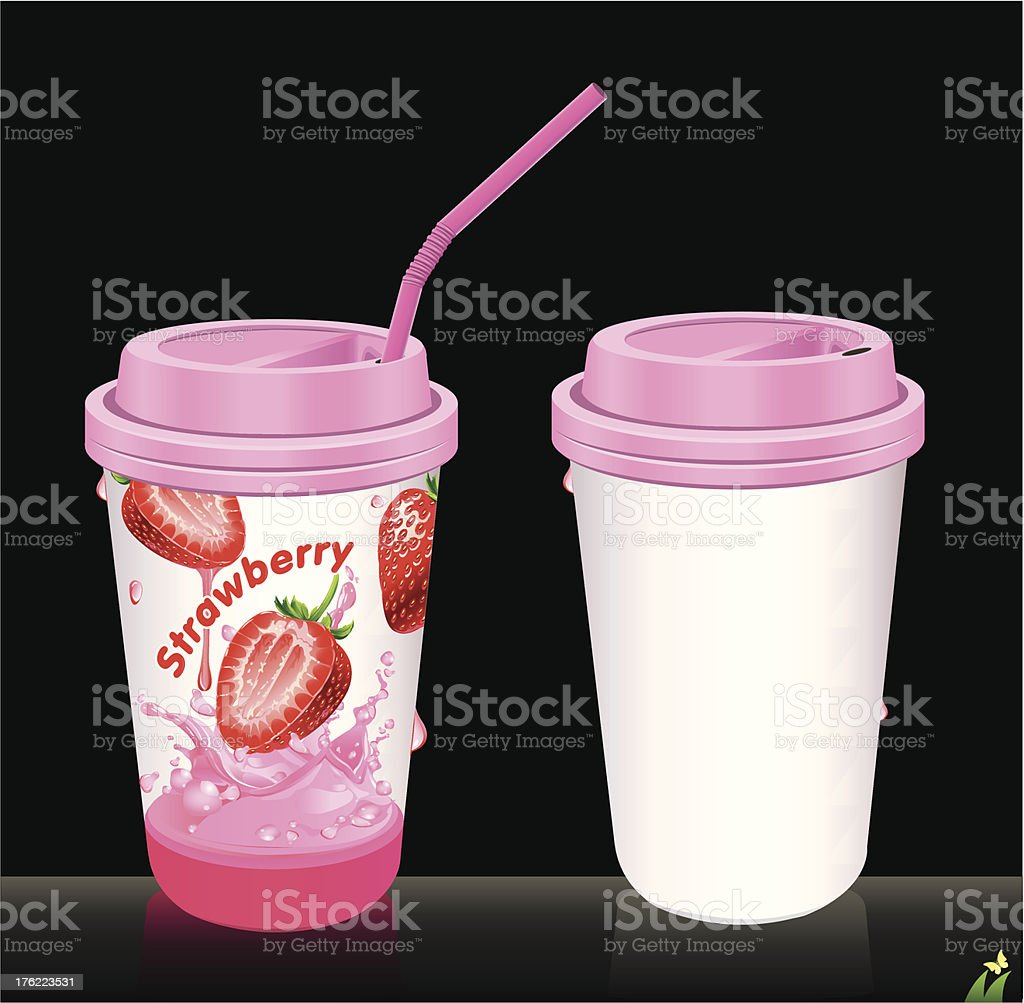 Paper cups with tubes royalty-free stock vector art