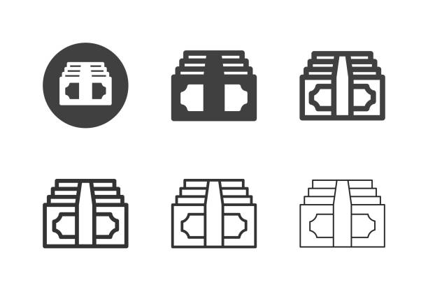 Paper Currency Icons - Multi Series vector art illustration
