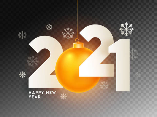 Paper Cut 2021 Text with Hanging Illuminated Golden Bauble and Snowflakes on Black Png Background for Happy New Year Celebration. vector art illustration