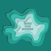 Paper cut abstract background. Green abstract wave shapes. Abstract green paper cut out curvy shapes layered, vector illustration in paper cut style. Layout template for business cards, presentations, flyers or posters.