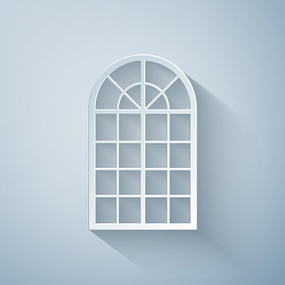 Paper cut Arched window icon isolated on grey background. Paper art style. Vector Illustration