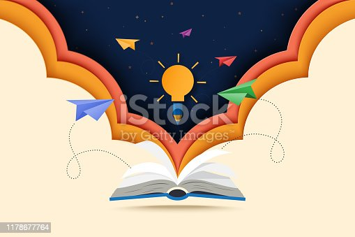 Paper cut of open book with learning,education and explore concept landing page background.