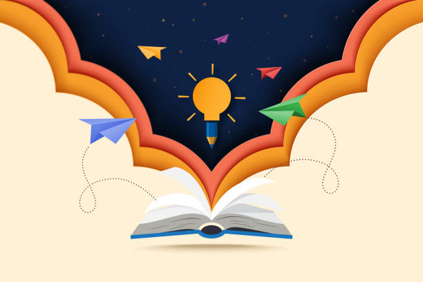 Paper cut art of open book with learning,education and explore concept. Paper cut of open book with learning,education and explore concept landing page background. book backgrounds stock illustrations