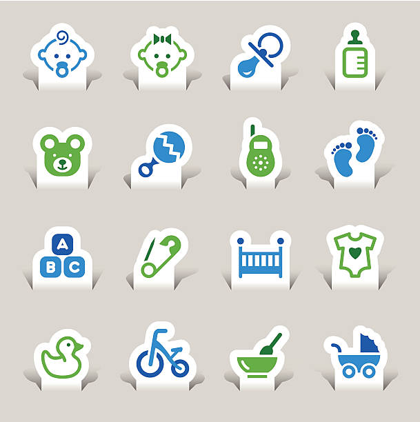 papier schnitt-baby icons - möbelfüße stock-grafiken, -clipart, -cartoons und -symbole