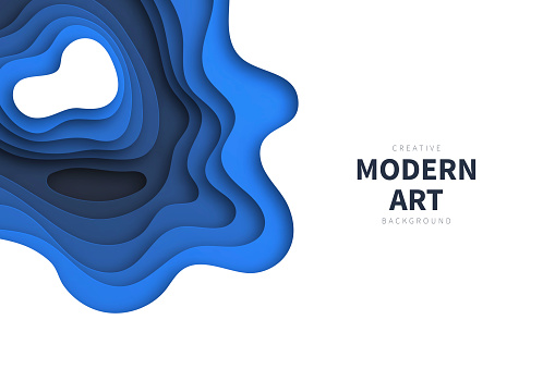 Paper cut background - Blue abstract wave shapes - Trendy 3D design