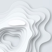 Modern and trendy background. Abstract design with wave shapes in a paper cut style (Grey, white). Background template for your design, with space for your text. Vector Illustration (EPS10, well layered and grouped). Easy to edit, manipulate, resize or colorize.