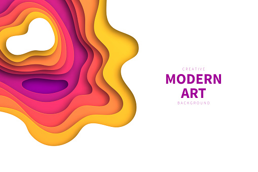 Modern and trendy background. Abstract design with wave shapes in a paper cut style. Background template for your design, with space for your text. (colors used: Yellow, Orange, Red, Pink, Purple). Vector Illustration (EPS10, well layered and grouped), wide format (3:2). Easy to edit, manipulate, resize or colorize.
