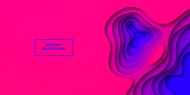 bildbanksillustrationer, clip art samt tecknat material och ikoner med papper skära bakgrund-lila abstrakt vågformer-trendig 3d-design - pink sunrise
