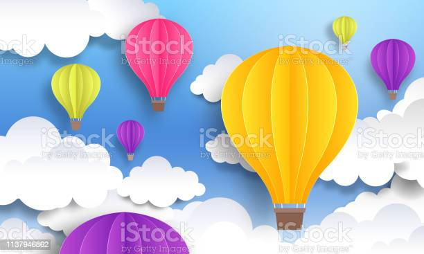 Origami Made Colorful Hot Air Balloon Stock Vector (Royalty Free ... | 367x612