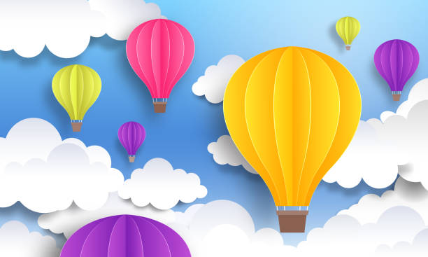 Paper cut balloons. Sky pastel background, cute origami cartoon graphic, flight voyage concept. Vector paper landscape design template Paper cut balloons. Sky pastel background, cute origami cartoon graphic, flight voyage concept. Vector paper landscape art design template hot air balloon stock illustrations