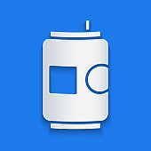 Paper cut Beer can icon isolated on blue background. Paper art style. Vector Illustration
