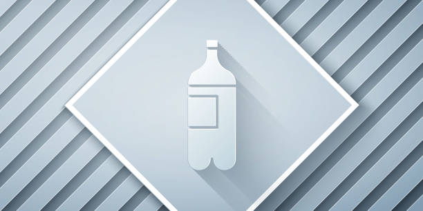 Paper cut Bottle of water icon isolated on grey background. Soda aqua drink sign. Paper art style. Vector Illustration Paper cut Bottle of water icon isolated on grey background. Soda aqua drink sign. Paper art style. Vector Illustration volume fluid capacity stock illustrations
