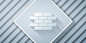 Paper cut Bricks icon isolated on grey background. Paper art style. Vector Illustration