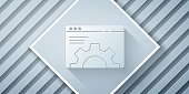 Paper cut Browser setting icon isolated on grey background. Adjusting, service, maintenance, repair, fixing. Paper art style. Vector Illustration