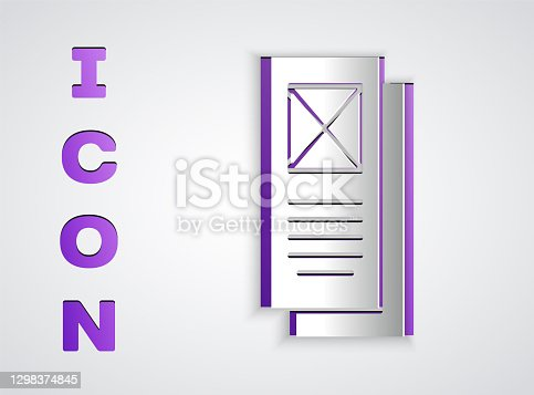 istock Paper cut Browser window icon isolated on grey background. Paper art style. Vector 1298374845