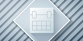 Paper cut Calendar icon isolated on grey background. Event reminder symbol. Paper art style. Vector Illustration