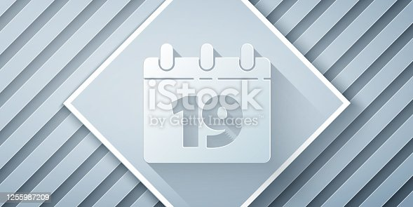 istock Paper cut Calendar with Happy Easter icon isolated on grey background. Spring Christian Holiday symbol. Paper art style. Vector Illustration 1255987209