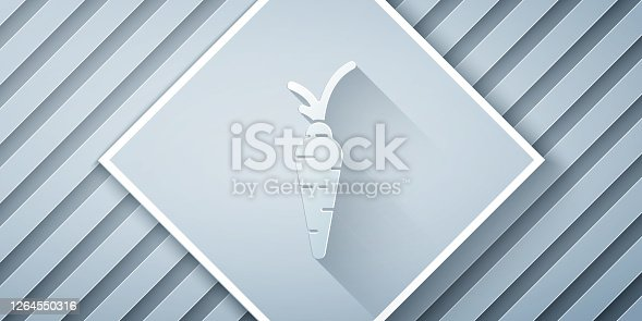 istock Paper cut Carrot icon isolated on grey background. Happy Easter. Paper art style. Vector Illustration 1264550316