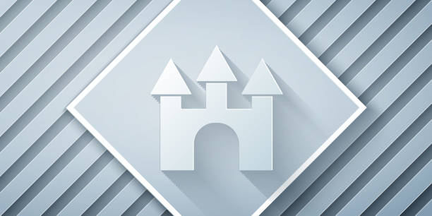 Paper cut Castle icon isolated on grey background. Paper art style. Vector Paper cut Castle icon isolated on grey background. Paper art style. Vector. architecture clipart stock illustrations